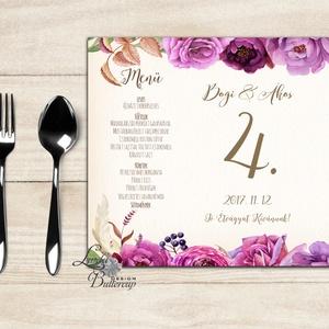 Esküvői Menü, Rusztikus esküvői dekoráció, bordó, arany, rózsa, burgundy menüsor, itallap, italok, asztalszám, őszirózsa - Meska.hu