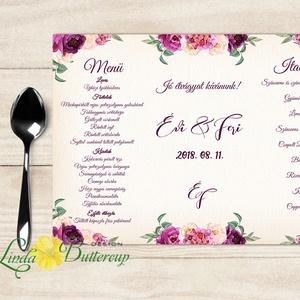 Esküvői Menü, Rusztikus esküvői dekoráció, bordó, arany, rózsa, burgundy menüsor, itallap, italok, asztalszám, őszirózsa (LindaButtercup) - Meska.hu