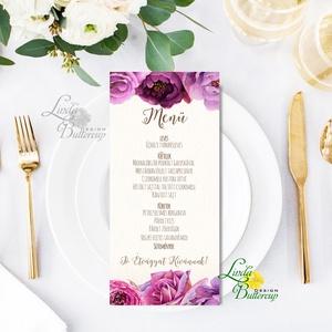 Egy lapos Menü, Itallap, Étlap, Vacsora,  bordó, burgundy, rózsa, romantikus, Esküvői dekor, Asztal dekor (LindaButtercup) - Meska.hu
