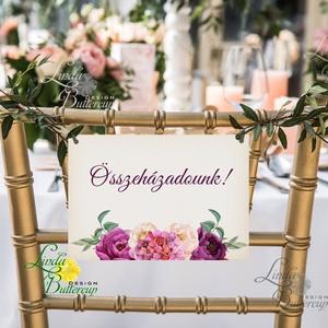 Esküvői Felirat A4, Menü, Itallap, Esküvő Dekor, Esküvői felirat, burgundy, rózsás, bordó, őszi, vintage, arany (LindaButtercup) - Meska.hu