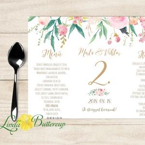 Esküvői Menü, Rusztikus esküvői dekoráció,  arany, rózsa, menüsor, itallap, italok, asztalszám, rózsakert, virágos, Menü, Meghívó & Kártya, Esküvő, Fotó, grafika, rajz, illusztráció, Papírművészet, Esküvői Virágos Álló Háromszög Menü Szalaggal\n\nEsküvői Menükártya\nÁlló 3szög forma, 1 oldal: 20x9,5c..., Meska