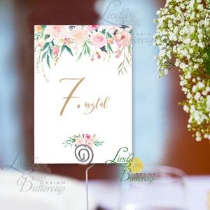 Asztalszám kártya, újrahasznosított papír, Dekoráció, Esküvői lap, Esküvő Dekor, rózsás, virágos, Esküvő, Asztaldísz, Dekoráció, Fotó, grafika, rajz, illusztráció, Papírművészet, Meska