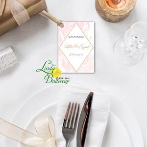 Köszönet kártya, ajándékkísérő, köszönet ajándék, esküvői kísérőkártya, köszönet lap, köszönjük, geometrikus, márvány (LindaButtercup) - Meska.hu