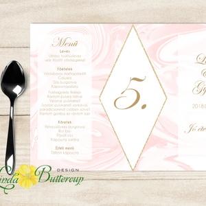 Esküvői Menü, Itallap, Asztalszám, geometrikus, rombusz, márvány, arany, négyszög, esküvői dekoráció, menüsor, , Esküvő, Meghívó & Kártya, Menü, Fotó, grafika, rajz, illusztráció, Papírművészet,  Álló Háromszög Menü Szalaggal kötve\n\nEsküvői Menükártya\nÁlló 3szög forma, 1 oldal: 20x9,5cm\nSzalagg..., Meska