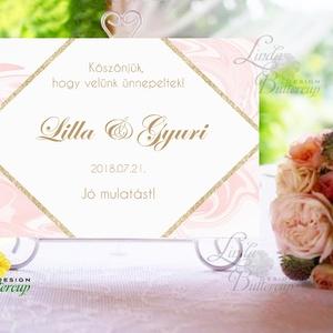 Esküvői Felirat A4, Köszöntő, Üdvözlő, Esküvői felirat, arany, welcome, idézet, vers, geometrikus, márvány (LindaButtercup) - Meska.hu