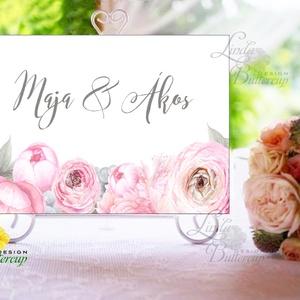 Esküvői Felirat A4, Köszöntő, Üdvözlő, Esküvői felirat, arany, welcome, idézet, vers, szürke, púder, virágos, pink (LindaButtercup) - Meska.hu