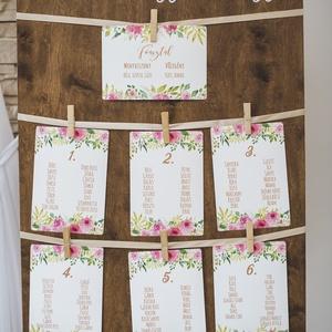 Ültetési rend, Asztalszámok, Esküvői ültetésirend, Ültetők, Ültetésrend, Esküvő ültető kártya, virágos, rózsás (LindaButtercup) - Meska.hu