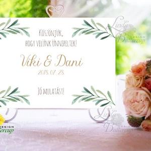 Esküvői Felirat A4, Köszöntő, Üdvözlő, idézet, greenery, zöld leveles, természetközeli, borostyán, eukaliptusz (LindaButtercup) - Meska.hu