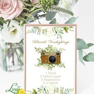 Polaroid fotó Esküvői Felirat A4, fénykép, fotóalbumhoz greenery, zöld leveles, természetközeli, borostyán, eukaliptusz, Esküvő, Tábla & Jelzés, Dekoráció, A/4-es Esküvői Felirat Dekoráció, bármilyen szöveggel, keret nélkül.  Bármilyen feliratot kérhetsz r..., Meska