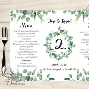 Esküvői Menü, menüsor, itallap, italok, asztalszám, greenery, zöld leveles, természetközeli, borostyán, eukaliptusz, Esküvő, Menü, Meghívó & Kártya, Esküvői Virágos Álló Háromszög Menü Szalaggal  Esküvői Menükártya Álló 3szög forma, 1 oldal: 20x9,5c..., Meska
