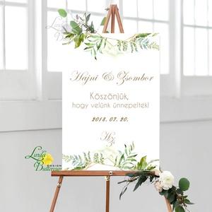 Esküvői Felirat A2, Köszöntő, Üdvözlő, idézet, greenery, zöld leveles, természetközeli, borostyán, eukaliptusz, Esküvő, Esküvői dekoráció, Dekoráció, Otthon & lakás, Kép, Fotó, grafika, rajz, illusztráció, Papírművészet, A2 Esküvői PAPÍR KÉP / \nAkasztós vagy Keretbe\n\nMÉRET: A2: (594x420mm)\n\nKIVITELEZÉS:\n Lekerekített sa..., Meska
