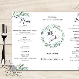 Esküvői Menü, menüsor, itallap, italok, asztalszám, greenery, zöld leveles, természetközeli, borostyán, eukaliptusz (LindaButtercup) - Meska.hu