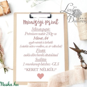 Gyerekszoba Kép, A4 Print, babsszoba dekoráció, dekor, falikép, Betű, név, névre szóló, kislány, virágos, rózsa, modern (LindaButtercup) - Meska.hu