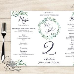Esküvői Menü, menüsor, itallap, italok, asztalszám, greenery, zöld leveles, természetközeli, borostyán, eukaliptusz, Esküvő, Meghívó, ültetőkártya, köszönőajándék, Esküvői dekoráció, Dekoráció, Otthon & lakás, Fotó, grafika, rajz, illusztráció, Papírművészet, Esküvői Virágos Álló Háromszög Menü Szalaggal\n\nEsküvői Menükártya\nÁlló 3szög forma, 1 oldal: 20x9,5c..., Meska