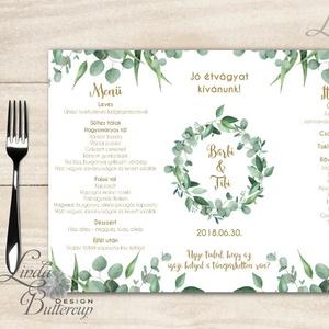 Esküvői Menü, menüsor, itallap, italok, asztalszám, greenery, zöld leveles, természetközeli, eukaliptusz (LindaButtercup) - Meska.hu