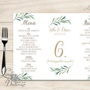 Esküvői Menü, menüsor, itallap, italok, asztalszám, greenery, zöld leveles, természetközeli, borostyán, eukaliptusz - Meska.hu