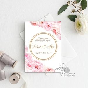 Virágos Esküvői meghívó, Virágos Esküvői lap, Esküvő Képeslap, virágkoszorú, pink, bazsarózsa, rózsás, kör, logó (LindaButtercup) - Meska.hu