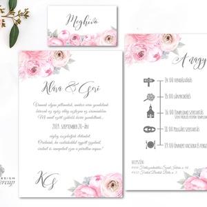 Mályva Esküvői meghívó, Rózsás meghívó, rózsa, elegáns, romantikus, virágos meghívó, nyári esküvő, rózsakoszorú (LindaButtercup) - Meska.hu
