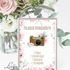 Polaroid fotó Esküvői Felirat A4, fénykép, fotó albumhoz, Esküvői kép, Esküvő Dekor, Esküvői felirat, bazsarózsa, rózsa (LindaButtercup) - Meska.hu