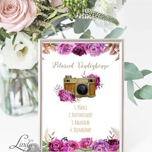 Polaroid fotó Esküvői Felirat A4, fénykép, fotó albumhoz, Esküvői kép, Esküvő Dekor, Esküvői felirat, virágos, burgundy, Album & Fotóalbum, Emlék & Ajándék, Esküvő, Vendégkönyv, Fotó, grafika, rajz, illusztráció, Papírművészet, A/4-es Esküvői Felirat Dekoráció, bármilyen szöveggel, keret nélkül.\n\nBármilyen feliratot kérhetsz r..., Meska
