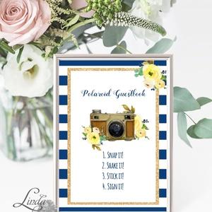 Polaroid fotó Esküvői Felirat A4, fénykép, fotó albumhoz, Esküvői kép, Esküvő Dekor, Esküvői felirat, csikos, kék-fehér (LindaButtercup) - Meska.hu