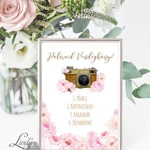 Polaroid fotó Esküvői Felirat A4, fénykép, fotó albumhoz, Esküvői kép, Esküvő Dekor, Esküvői felirat, virágos, rózsás (LindaButtercup) - Meska.hu
