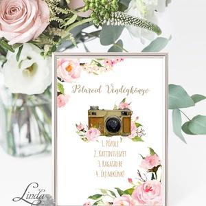 Polaroid fotó Esküvői Felirat A4, fénykép, fotó albumhoz, Esküvői kép, Esküvő Dekor, Esküvői felirat, virágos, rózsás - Meska.hu