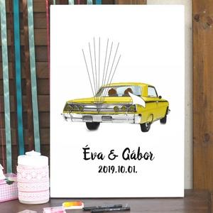 Esküvői ujjlenyomat Autó feszített vásznon, Chevrolet Impala Oldtimer autó, lufi, ujjlenyomat, Esküvő dekor, kép (LindaButtercup) - Meska.hu