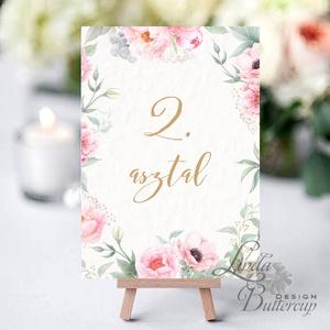 Asztalszám kártya, Ültetési rend, Dekoráció, kellék, Esküvői lap, Esküvő Dekor, Esküvői felirat, kártya, virágos - esküvő - meghívó & kártya - ültetési rend - Meska.hu