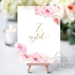 Asztalszám kártya, Ültetési rend, Dekoráció, kellék, Esküvői lap, Esküvő Dekor, Esküvői felirat, kártya, virágos, Esküvő, Ültetési rend, Meghívó & Kártya, Fotó, grafika, rajz, illusztráció, Papírművészet, Meska