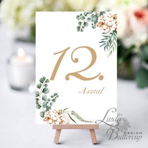 Asztalszám kártya, Ültetési rend, Dekoráció, kellék, Esküvői lap, Esküvő Dekor, Esküvői felirat, kártya, virágos (LindaButtercup) - Meska.hu