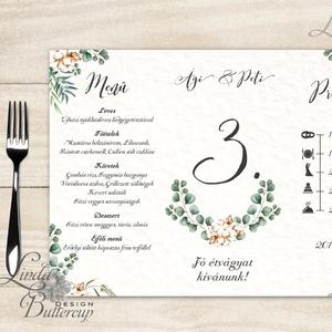 Esküvői Menü, menüsor, itallap, italok, asztalszám, greenery, zöld leveles, természetközeli, borostyán, eukaliptusz, Menü, Meghívó & Kártya, Esküvő, Fotó, grafika, rajz, illusztráció, Papírművészet, Esküvői Virágos Álló Háromszög Menü Szalaggal\n\nEsküvői Menükártya\nÁlló 3szög forma, 1 oldal: 20x9,5c..., Meska