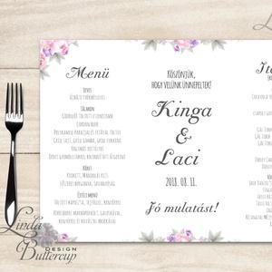 Esküvői Menü, menüsor, itallap, italok, asztalszám, természetközeli, virágos, romantikus, nyugalmas (LindaButtercup) - Meska.hu
