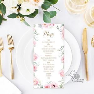 Egy lapos Menü, Itallap, Étlap, Vacsora, esküvői menüsor, virágos, romantikus, nyugalmas, békés (LindaButtercup) - Meska.hu
