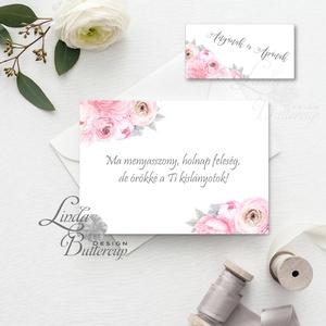 Örömanya, Örömapa, köszönet, Tanú felkérő lap, koszorúslány felkérő lap, Esküvői Képeslap, virágos, rózsa, rózsás, Meghívó, Meghívó & Kártya, Esküvő, Festészet, Fotó, grafika, rajz, illusztráció, Örömanya/Örömapa köszönet lap A/6, borítékkal.\n\nNÉVRE SZÓLÓ LAP:\n** SZÖVEG VÁLTOZTATHATÓ**\n\n* KIVITE..., Meska
