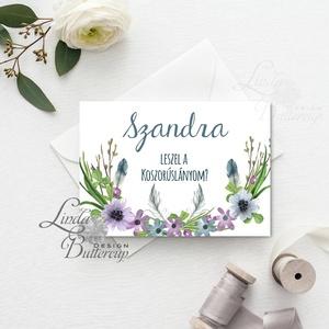 Koszorúslány felkérő lap, Tanú felkérő lap, Esküvői Képeslap, virágos, natúr, esküvői meghívó, tanú, esküvő (LindaButtercup) - Meska.hu