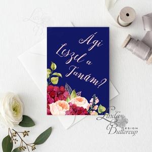 Tanú felkérő lap, Koszorúslány felkérő lap, Esküvői Képeslap, virágos, natúr, esküvői meghívó, tanú, sötétkék, kék (LindaButtercup) - Meska.hu