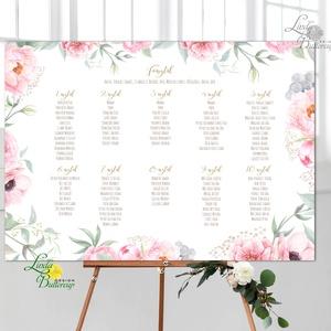Modern Ültetési rend, Esküvői ültetésirend, Ültetők, Ültetésrend, virágos, rózsaszín, nyugalmas, romantikus (LindaButtercup) - Meska.hu