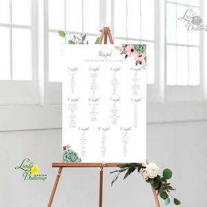 Bohó Ültetési rend, Natúr, természetközeli, seat chart, seating plan, Esküvői ültetésirend, Ültetők, Ültetésrend, virág, Esküvő, Ültetési rend, Meghívó & Kártya, Fotó, grafika, rajz, illusztráció, Papírművészet, Meska