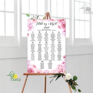 Bohó Ültetési rend, Natúr, virágos, seat chart, seating plan, Esküvői ültetésirend, Ültetők, Ültetésrend, virág (LindaButtercup) - Meska.hu