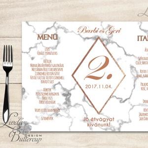 Esküvői Menü, menüsor, itallap, italok, asztalszám, marble, márvány, geometrikus formák, krém, gold, rombusz (LindaButtercup) - Meska.hu