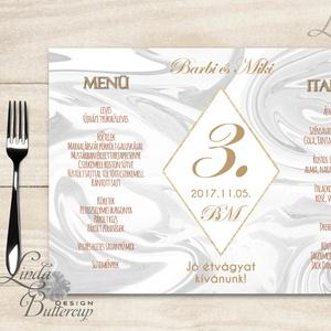 Esküvői Menü, menüsor, itallap, italok, asztalszám, marble, márvány, geometrikus formák, krém, gold, rombusz, Esküvő, Meghívó & Kártya, Menü, Fotó, grafika, rajz, illusztráció, Papírművészet, Meska