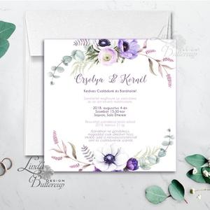 Lila virágos meghívó, esküvői meghívó, romantikus, virágos lap, nyugalmas, természetközeli, természetbarát, lila, Esküvő, Meghívó, ültetőkártya, köszönőajándék, Naptár, képeslap, album, Otthon & lakás, Esküvői dekoráció, Fotó, grafika, rajz, illusztráció, Papírművészet, Minőségi  Esküvői  Meghívó\n\n* MEGHÍVÓ CSOMAG BORÍTÉKKAL:\n- Meghívó egy lap, egy oldalas: kb.: 13cm x..., Meska