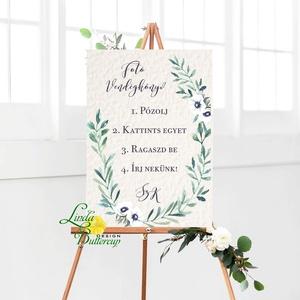 Esküvői Poszter A3, Esküvői kép, Esküvő Dekor, Felirat, Tábla, greenery, zöld leveles, természetközeli, eukaliptusz - esküvő - dekoráció - helyszíni dekor - Meska.hu
