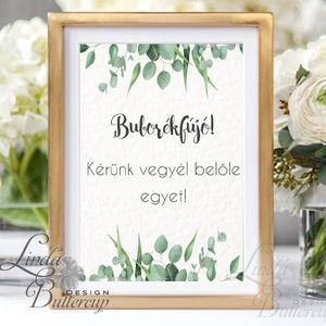Esküvői Felirat A4, Esküvői kép, Esküvői felirat, greenery, zöld, természetközeli, eukaliptusz, tánc, buborékfújó (LindaButtercup) - Meska.hu