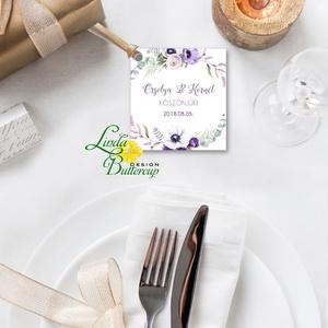 Köszönetkártya,  virágos natúr, esküvői dekoráció, virágkoszorú, virágos, lila, romantikus, nyugalmas, Esküvő, Köszönőajándék, Emlék & Ajándék, Fotó, grafika, rajz, illusztráció, Papírművészet, Meska