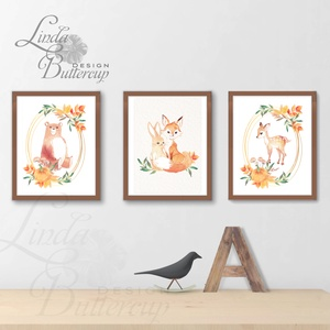Őszi falikép, őszi dekoráció, őz, medve, nyúl, róka, nyuszi, Babaszoba Falikép, Gyerekszoba kép, erdei állat (LindaButtercup) - Meska.hu