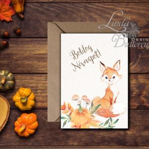 Boldog névnapot, Őszi Képeslap, Halloween Üdvözlőlap, őszi, ősz, lap, Róka, erdeiállat, rókás lap, kép, őszi, levelek (LindaButtercup) - Meska.hu