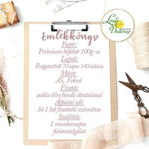 Esküvői Emlékkönyv, sötét navy kék krém gerinc, Vendégkönyv, könyv,  fehér virágos, virág, elegáns, Esküvői vendégkönyv (LindaButtercup) - Meska.hu