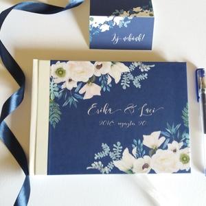 Esküvői Emlékkönyv, Vendégkönyv, Királykék gyöngyház gerinc, könyv, fehér virágos, virág, elegáns, Esküvői vendégkönyv - Meska.hu